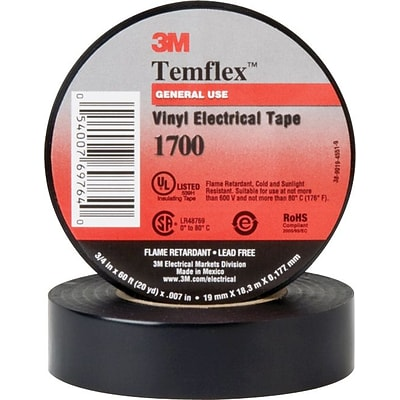 Scotch® Temeflex® Vinyl Electrical Tape; 60, 7 mil, 100 Rolls/Ct.