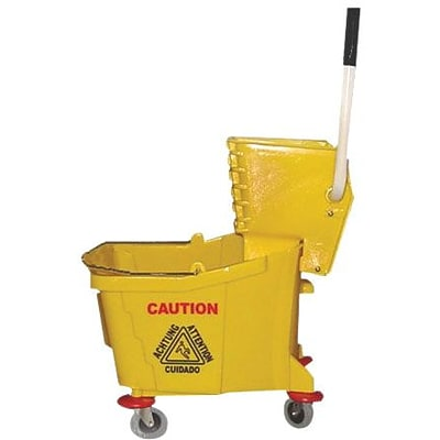 Magnolia Yellow Plastic Mop Bucket with Wringer, 35 qt.