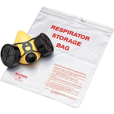 Allegro® Respirator Storage Bags with Zipper, 14 x 16