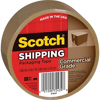 Scotch® Commercial Grade Shipping Packing Tape, 1.88 x 54.6 yds, Tan, 1/Pack