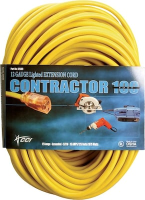 Cci(r) Pvc Jacket Sjtw Outdoor Extension Cord, 10/3 Awg, 100 Ft (l)