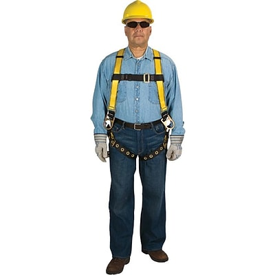 MSA Workman® Harness, Qwik-Fit™ D-Ring Back and Hips, Polyester, Yellow