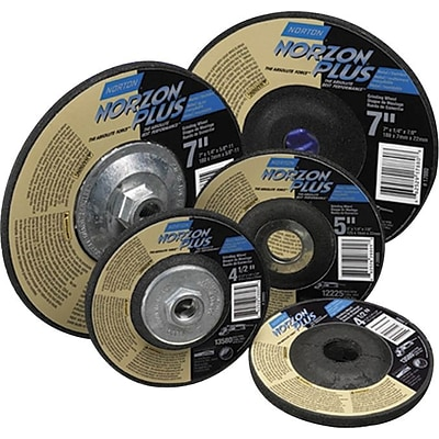 Norton Type 27 NorZon Plus Depressed Center Grinding Wheels, 8600 rpm,  7X1/8X5/8-11