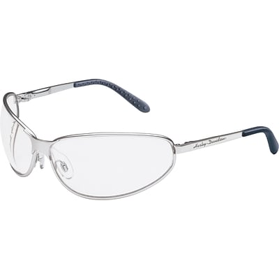 Harley-Davidson® 500 Series Safety Glasses, Black Frame, Blue Mirror Lens Tint