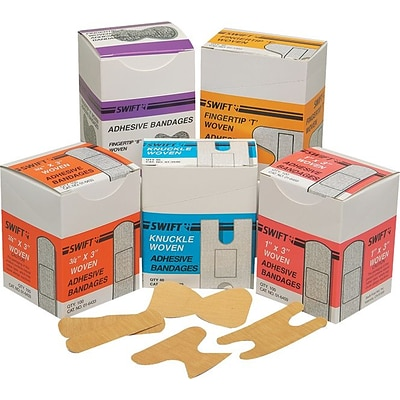 Swift First Aid Adhesive Bandages, 1x3, 100/Box