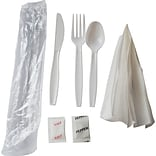 White Heavy-Weight Cutlery Meal Kit, 250/Cs