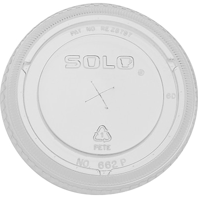 Solo® Straw Slot Plastic Cold Cup Lids, 20 oz., Clear, 100/Pack (662TS)