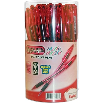 Pentel R.S.V.P.® Razzle-Dazzle™ Pink Ribbon Ballpoint Pens, Medium Point, Black, 36/Pack