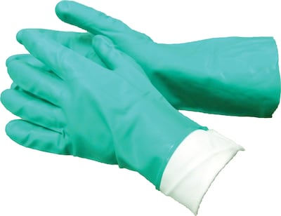 Ambitex(r) Flock Lined Work Gloves, Nitrile, Small, Green, 144/Ct