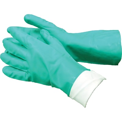 Tradex® Flock Lined Gloves, Green Nitrile, Large, 12 Pair