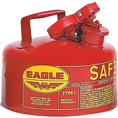 EAGLE Type I Flame Retardant Galvanized Steel Red Safety Can, 9 in (OD) x 10 in (H), 1 Gallon