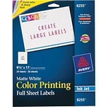 Avery® 8255 White Print To The Edge Mailing Label, 8 1/2(W) x 11(L), 20/Pack