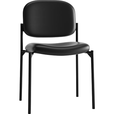 basyx by HON® HVL600 Series Stacking Chair, SofThread Leather, Black, NEXT2017 NEXT2Day