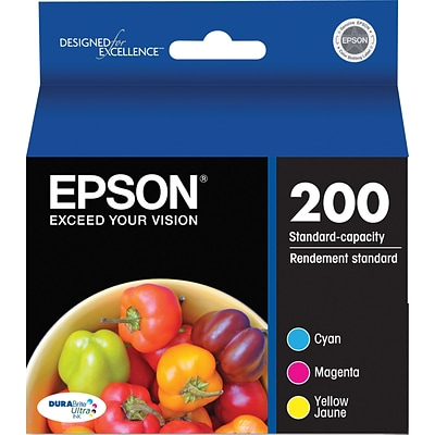 Epson 200 Color Combination Ink Cartridges, Standard Yield, 3/Pack (T200520-S)