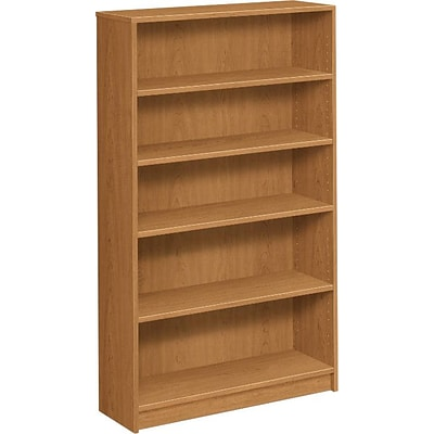 HON® Square-Edge Laminate Bookcases, 60-1/8H, 5 Shelves, Harvest
