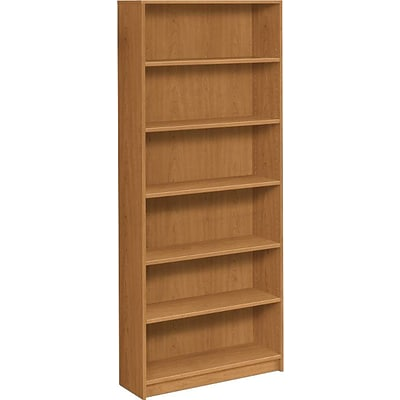 HON® Square-Edge Laminate Bookcases, 84H, 6 Shelves, Harvest