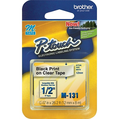 Brother M131 Label Maker Tape, 0.47W, Black On Clear