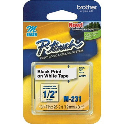 Brother M231 Label Maker Tape, 0.47W, Black On White
