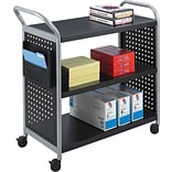 Safco Scoot 38H x 31W x 18D 3-Shelf Utility Cart Black (5339BL)