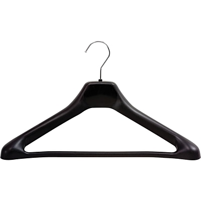 Safco® One Piece Versatile Plastic Hanger With Chrome Hook, Black Hanger, Silver Hook, 24/carton