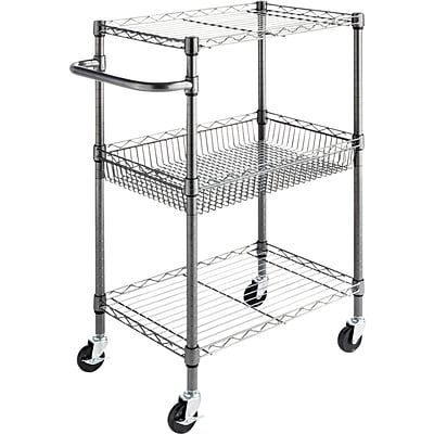 Alera® 26D Wire Shelving Three-Tier Rolling Cart, Black Anthracite