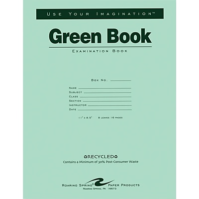 Roaring Spring Paper Products Green Exam Book, 11 x 8 1/2, 8 sheets/16 pages, wide ruled with margin, Recycled Paper