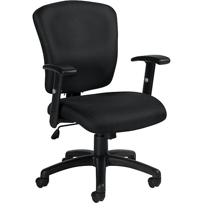 Offices To Go® Multi-Function Task Chair, Fabric, Black, Seat: 25.5Wx23.5D, Back: 25.5Wx25H