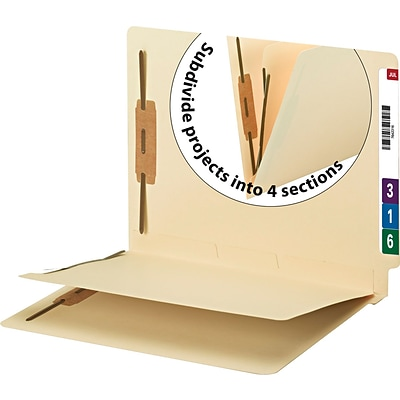 Smead Reinforced End-Tab Fastener Folders with Divider, 2-Fasteners, Letter Size, Manila, 50/Box (34220)