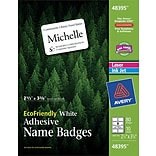 Avery® 48395 White Name Badge Labels; 2-1/3 x 3-3/8; 80/Pack