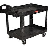 Rubbermaid Heavy-Duty 2-Shelf Utility Cart with Lipped Shelf, Black, 45 1/4L x 25 7/8W x 33 1/4H