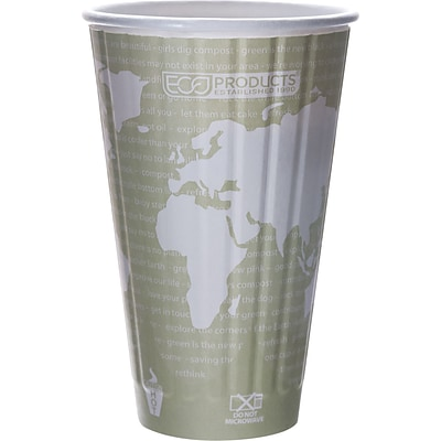 Eco-Products® World Art™ Insulated Compostable Paperboard/PLA Hot Cup; 16 oz.; Light Green, 600/Ct