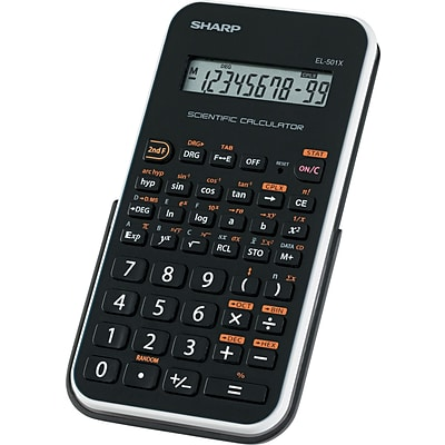 Sharp® EL-501XBWH Scientific Calculator, 10-Digit LCD, Black/White