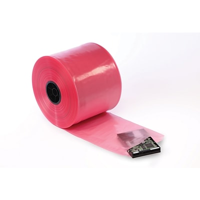 8 x 750 Antistatic Poly Tubing on a Roll, 4 mil, Pink, 1/Roll, (12510)