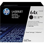 HP 64X (CC364XD) Black High Yield Original LaserJet Toner Cartridges, Multi-pack (2 cart per pack)