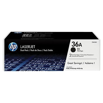 HP 36A (CB436AD) Black Original LaserJet Toner Cartridges, Multi-pack (2 cart per pack)