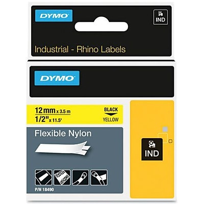 Dymo® Rhino™ Industrial Label Tape Cassette, Flexible Nylon, 1/2 x 11-1/2, Black on Yellow
