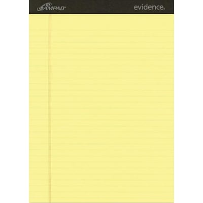 Ampad® Evidence® Ruled Pad 8-1/2x11-3/4, Wide Ruling, Canary, 50 Sheets/Pad