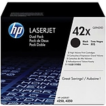HP 42X (Q5942XD) Black High Yield Original LaserJet Toner Cartridges, Multi-pack (2 cart per pack)