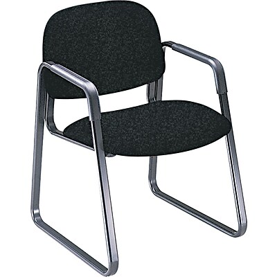 HON® Solutions - 4000 Series Sled Base Guest/Side Chair, Fabric, Black, Seat: 20W x 18 1/4D, Back: 21W x 15H