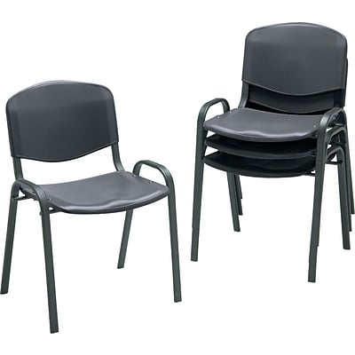 Safco® Contoured Stacking Chairs, Plastic, Black, Seat: 18 1/2W x 16 1/4D, Back: 18 1/4W x 12 3/4H, 4/CT