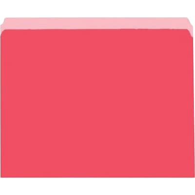 File Folders, Recycled, 2-Tone Red, Letter, Top Tab, Straight Cut, 100/Box