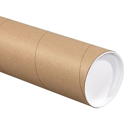 4 x 24 Kraft Mailing Tubes with White Caps