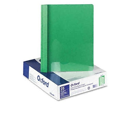 Oxford Clear Front Report Cover with Green Leatherette Back Cover, 8 1/2 x 11, 25/Bx