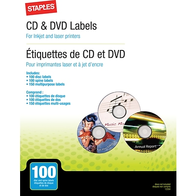 CD/DVD Label Refill Pack, 100/PK
