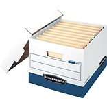 Bankers Box Stor/File Heavy-Duty FastFold End-Tab Storage Boxes with Lift-Off Lid, Letter/Legal, 12/