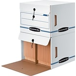 BANKERS BOX® SIDE-TAB™ Drop-Front Storage Boxes, Letter, End Tab, White/Blue, 10 3/4H x 15 1/4W x