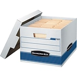 Bankers Box Stor/File Medium-Duty Quick Set-Up Storage Boxes with Lift-Off Lid, Letter/Legal, 4/Ct (