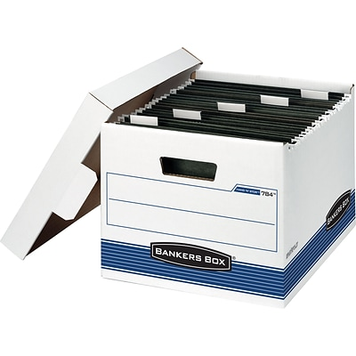 Bankers Box Hang-N-Stor Medium-Duty FastFold Storage Boxes with Lift-Off Lid, Letter, 4/Ct (00784)