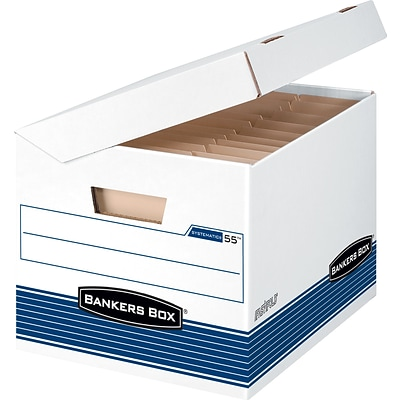 Bankers Box® Systematic® Medium-Duty FastFold® Storage Boxes with Attached Flip-Top Lid, Letter/Legal, 12/Ct (0005502)