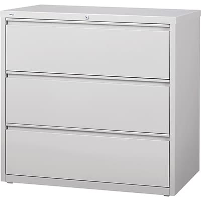 Quill Brand® HL8000 Commercial 42 Wide 3 Drawer Lateral File Cabinet, Light Gray
